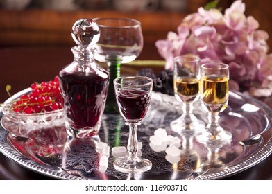 glasses of cordial and hydrangea