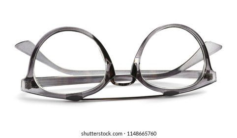 a8240e48bab Glasses with corrective lenses on white background. Vision problem