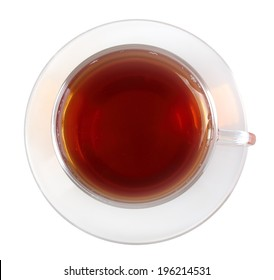 Glasses cup with black tea, top view. Isolated on white background. Close-up. Studio photography.