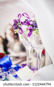 glasses and decoration on wedding table setting, selective focus