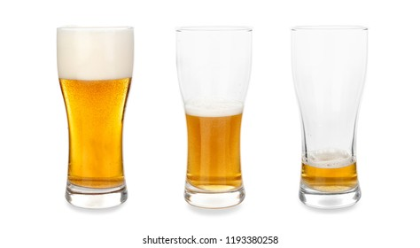 Glasses with different amount of beer on white background