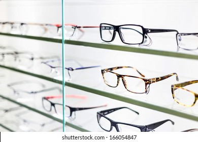 glasses displayed