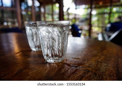 Glasses of drinking water with ice