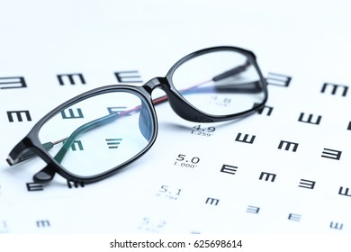 Glasses and eye chart on white background