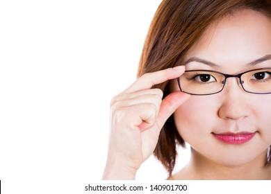Glasses eyewear closeup of woman holding eye glasses frame smiling happy.