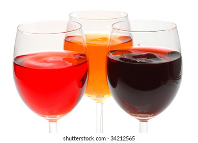 Glasses filed with wine with white background
