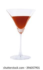 Glasses of fresh dark orange cocktail on white background