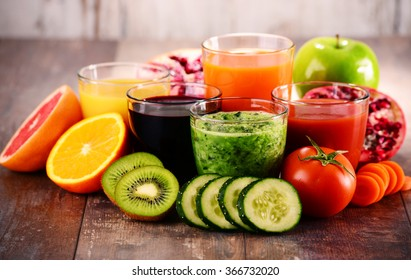 Glasses of fresh organic vegetable and fruit juices. Detox diet.