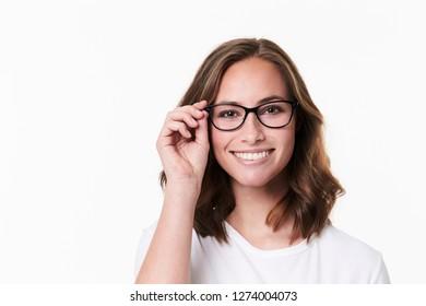 Glasses girl in t-shirt on white backgound