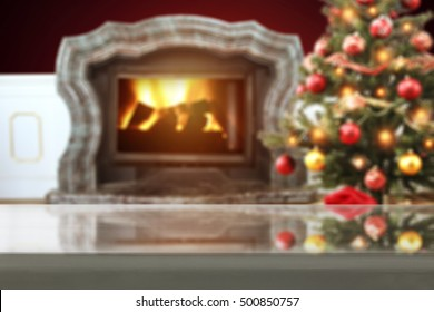 glasses gray top and christmas space  with fireplace and xmas tree