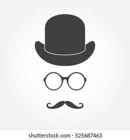 Glasses, hat and mustache. Old fashioned gentleman accessories icon set. Vintage or hipster style.