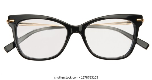 Glasses isolated on white background. Top view black glasses transparent reading, business or office style.