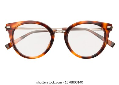 Glasses isolated on white background. Front view leopard color glasses reading transparent in round frame, business or office style.