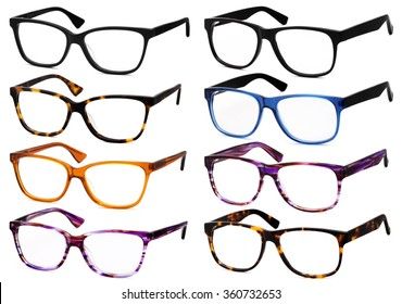 glasses isolated on white background, in various colors