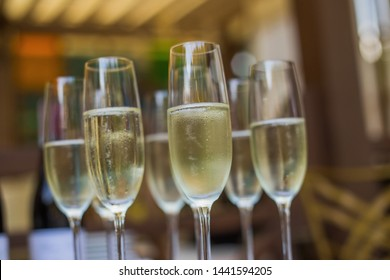 Glasses of Italian and French Wine Prosecco and Champagne
