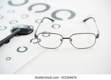 Glasses with Landolt ring chart