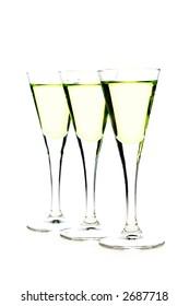 glasses of liqueur