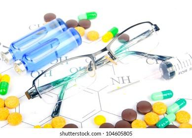 Glasses and medicine