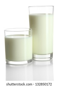Glasses of milk isolated on white