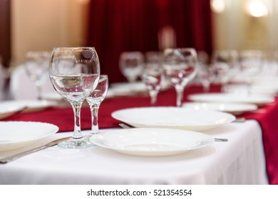 Glasses on a Banquet table serving holiday