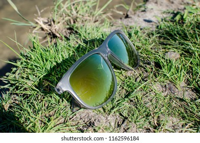 glasses on the grass