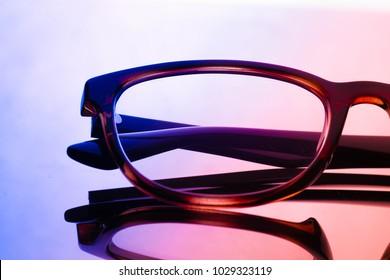 glasses on light background. costume fashion concept