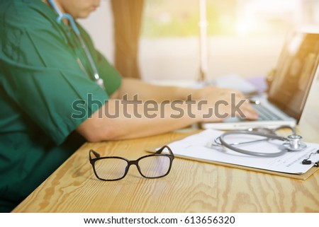 b473343e0b11 Glasses On Note Book Many Doctors Stock Photo (Edit Now) 613656320 ...