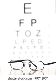 Glasses on the table with eye test chart in the background,for Distance Vision Test themes