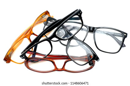A lot of glasses on a white background.