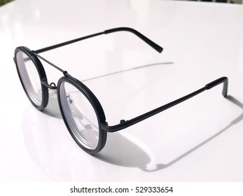 Glasses on the white table