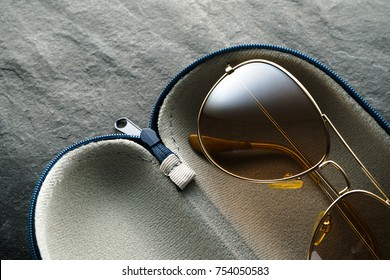 Glasses in an open case, black Friday, gifts horizontal