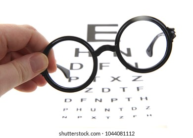 glasses and optic test isolated on the white background