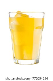 Glasses with orange soda drink and ice cubes on white background