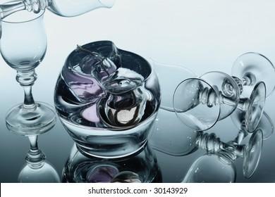 Glasses over mirror