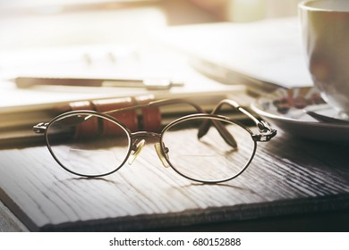 Glasses placed on desk