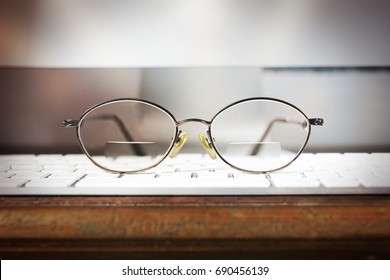 Glasses placed on desk