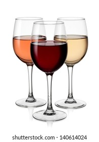 Glasses with red, white and rose wine
