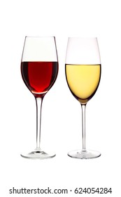 glasses of red and white wine isolated on white background