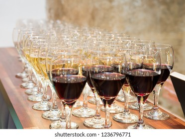 Glasses of Red Wine and Champagne