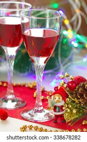 Glasses of red wine with christmas decoration