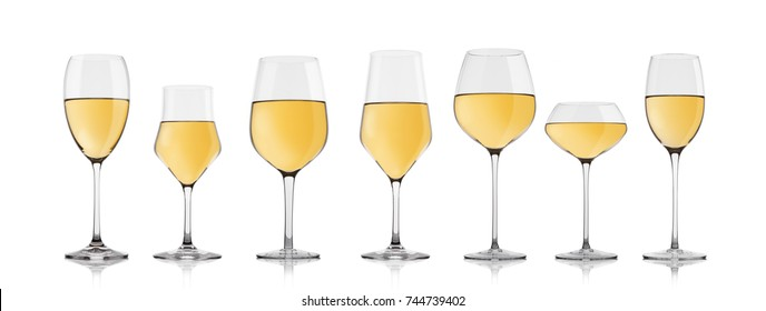 Glasses of red wine isolated with reflection on white background. Different type of glasses.