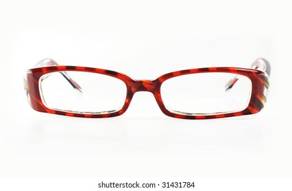 Glasses with reflection on white background.Accessory for eye.