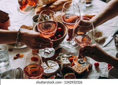 Glasses of rose wine seen during a friendly party of a celebration.