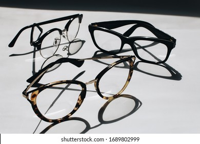 Glasses for sale on white background, close-up
