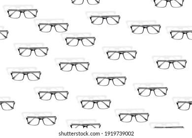 Glasses seamless pattern. Glasses set seamless pattern.