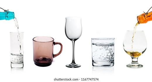 Glasses set with glass mug and wineglasses isolated on a white background