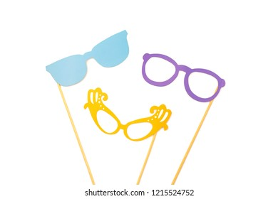 f5b276afa Glasses shaped photo booth props isolated on the white background.  Flat-lay, top