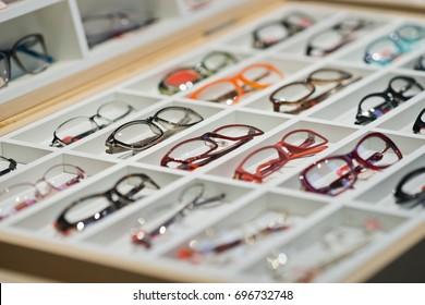 glasses in shop