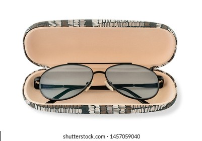 Glasses for sight with a polarized lenses in a glasses case. Polarized lenses eye glasses for reading and computer work. Myopia, hyperopia and vision correction. Isolated on white background.