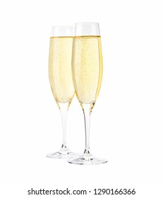 Glasses of sparkling champagne isolated on white.diagonal composition